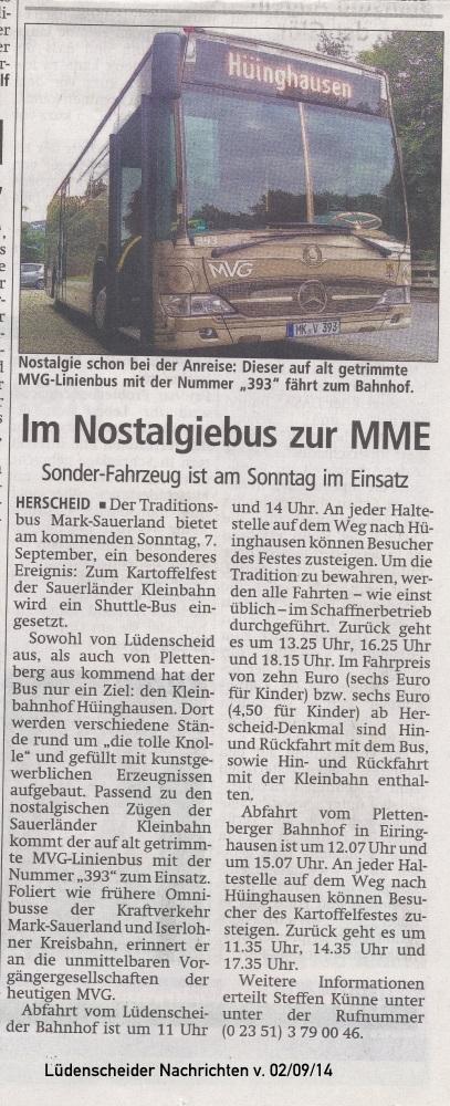Lüdenscheider Nachrichten vom 02.09.14