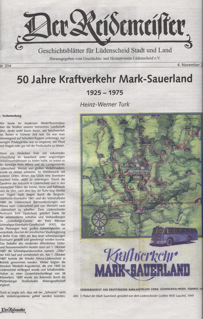 """Lüdenscheider Geschichtsblätter """"Der Reidemeister"""" (Lüdenscheider Nachrichten vom 04.11.2015)"""
