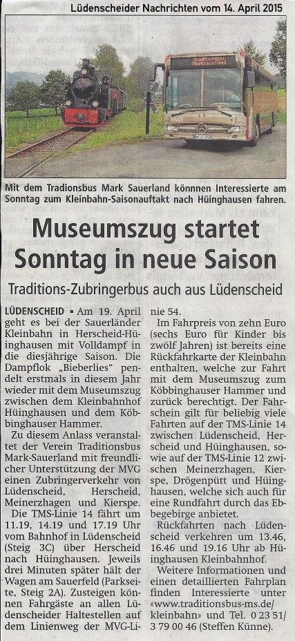Lüdenscheider Nachrichten vom 14.04.2015