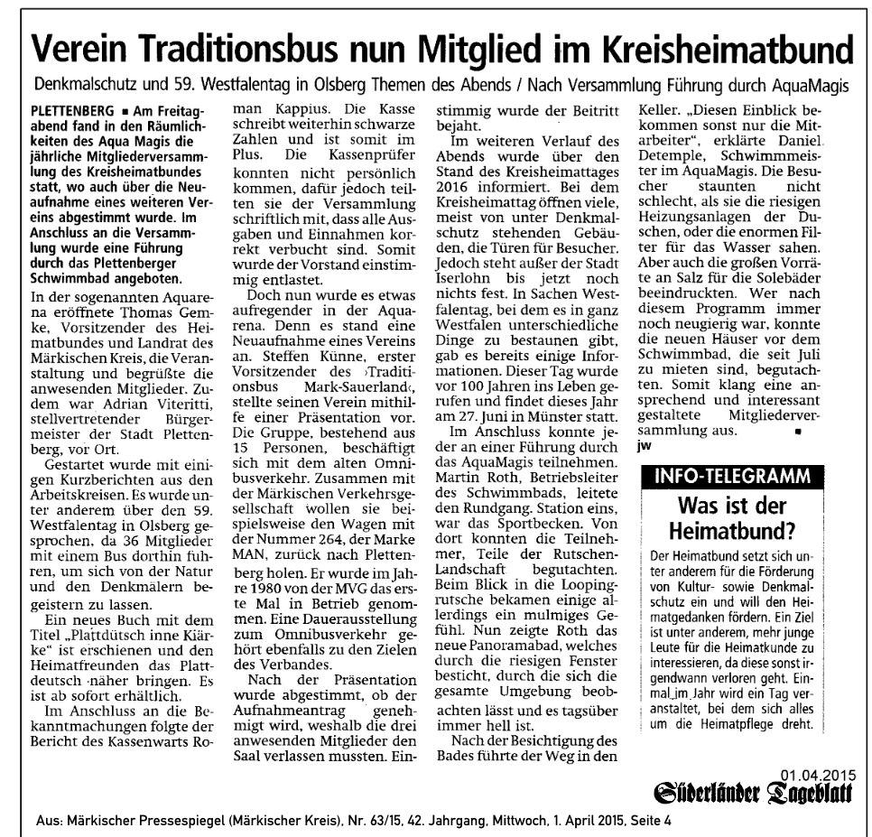 Süderländer Tageblatt vom 01.04.15