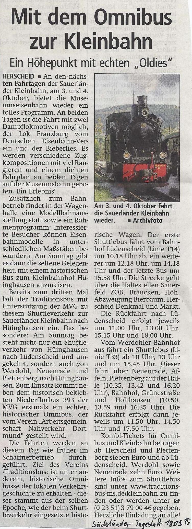 Süderländer Tageblatt vom 18.09.2015