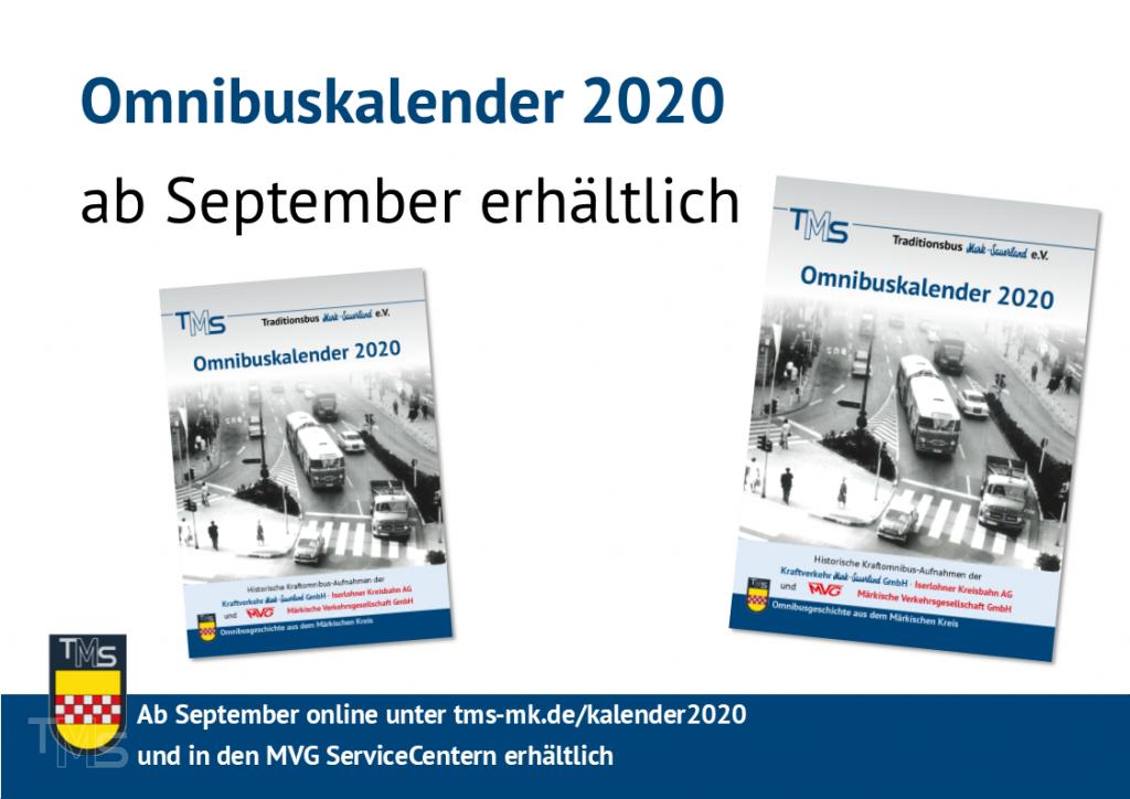 Ab September erhältlich: Omnibuskalender 2020