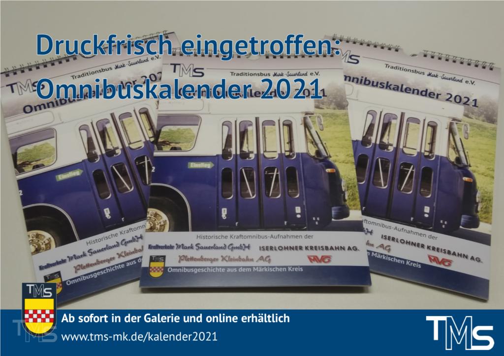 Druckfrisch eingetroffen: Omnibuskalender 2021